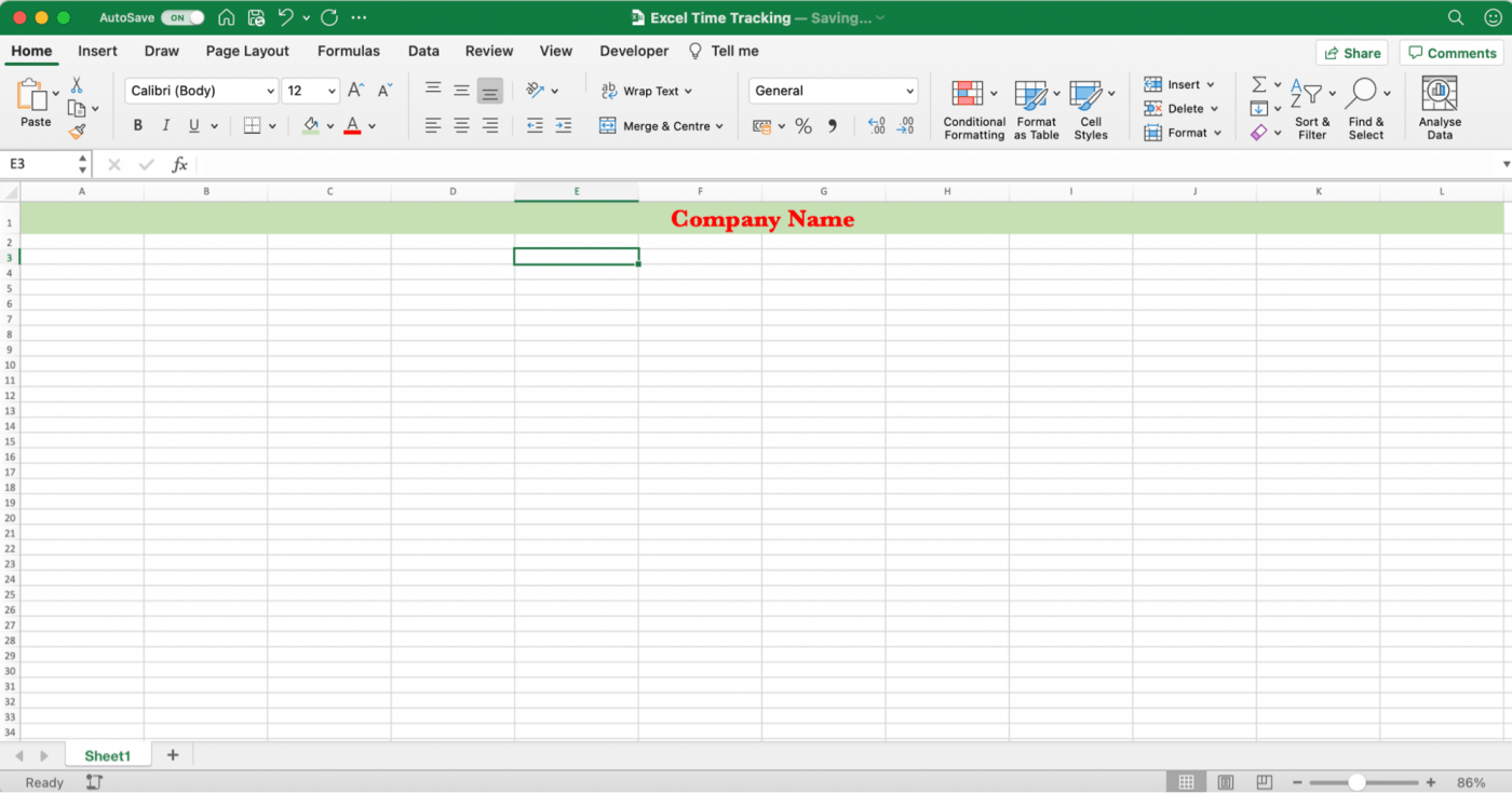 Timesheet in Excel