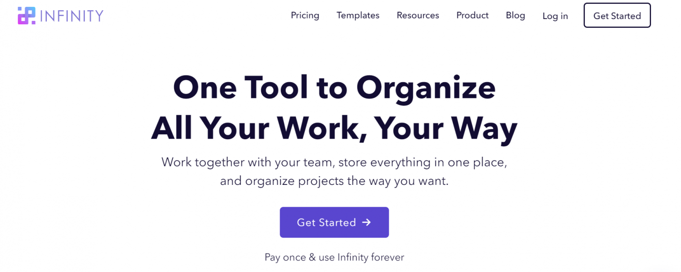 infinity project management home page