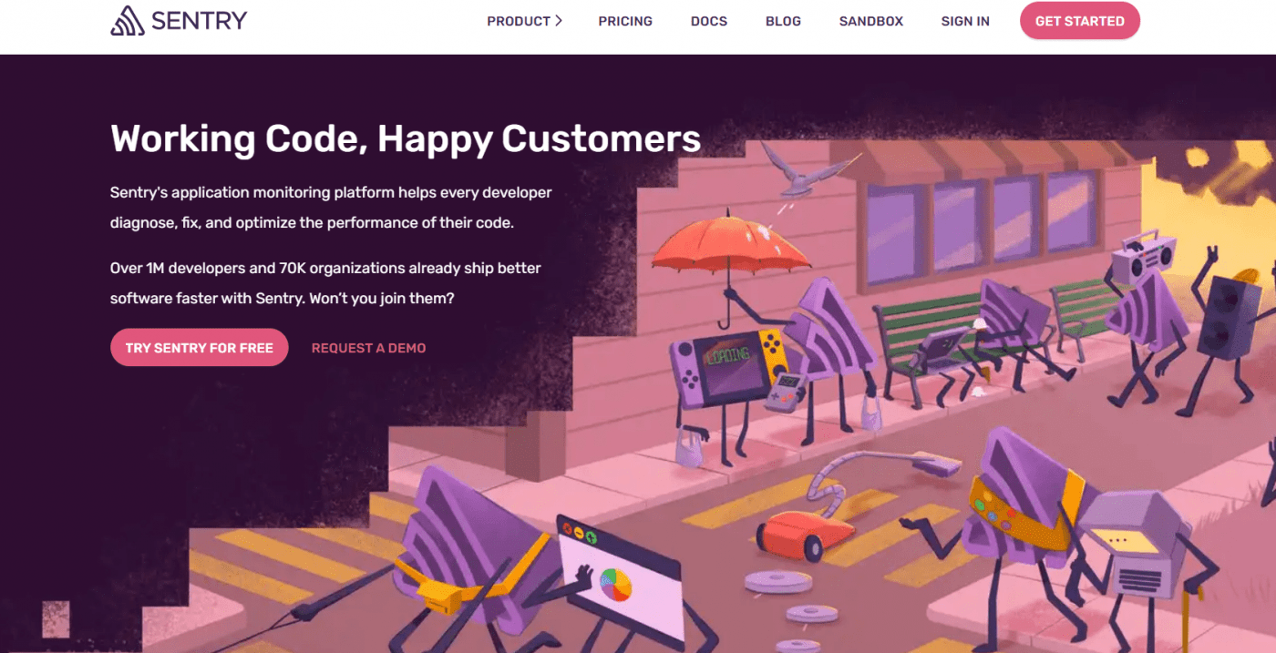 Sentry io home page