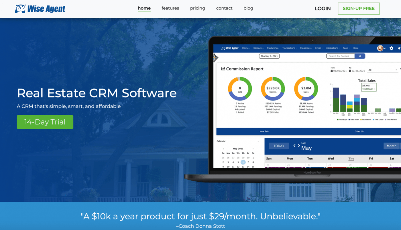 Wise Agent CRM Homepage