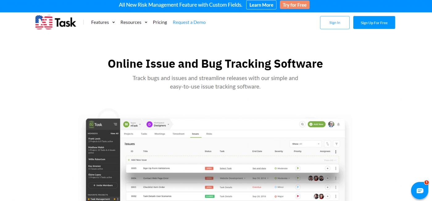 nTask home page