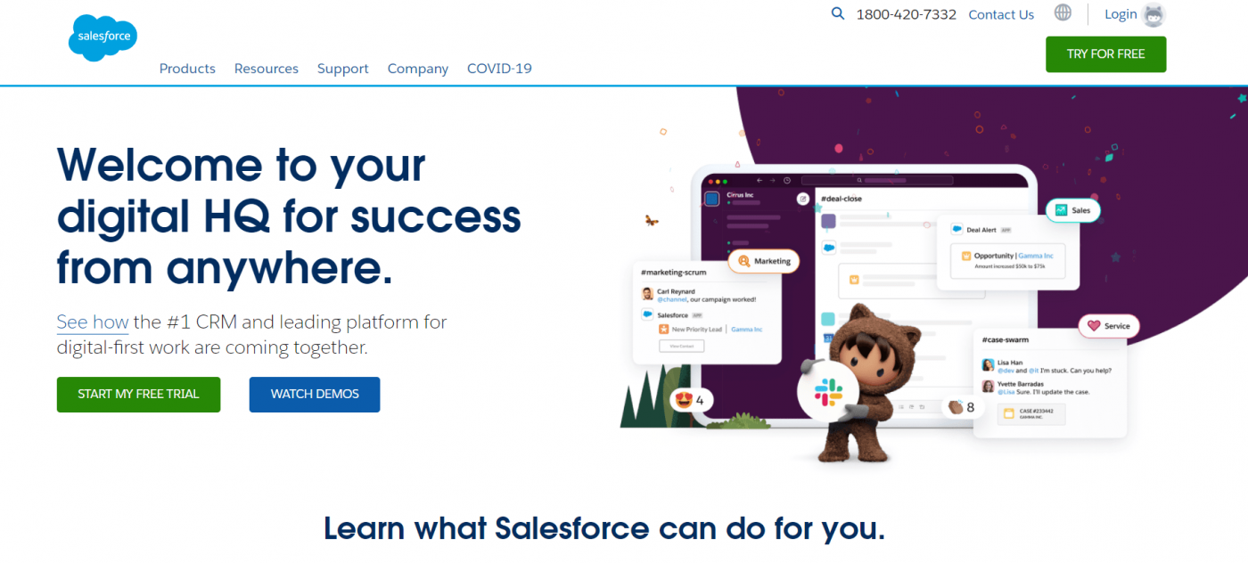 Salesforce free trial page