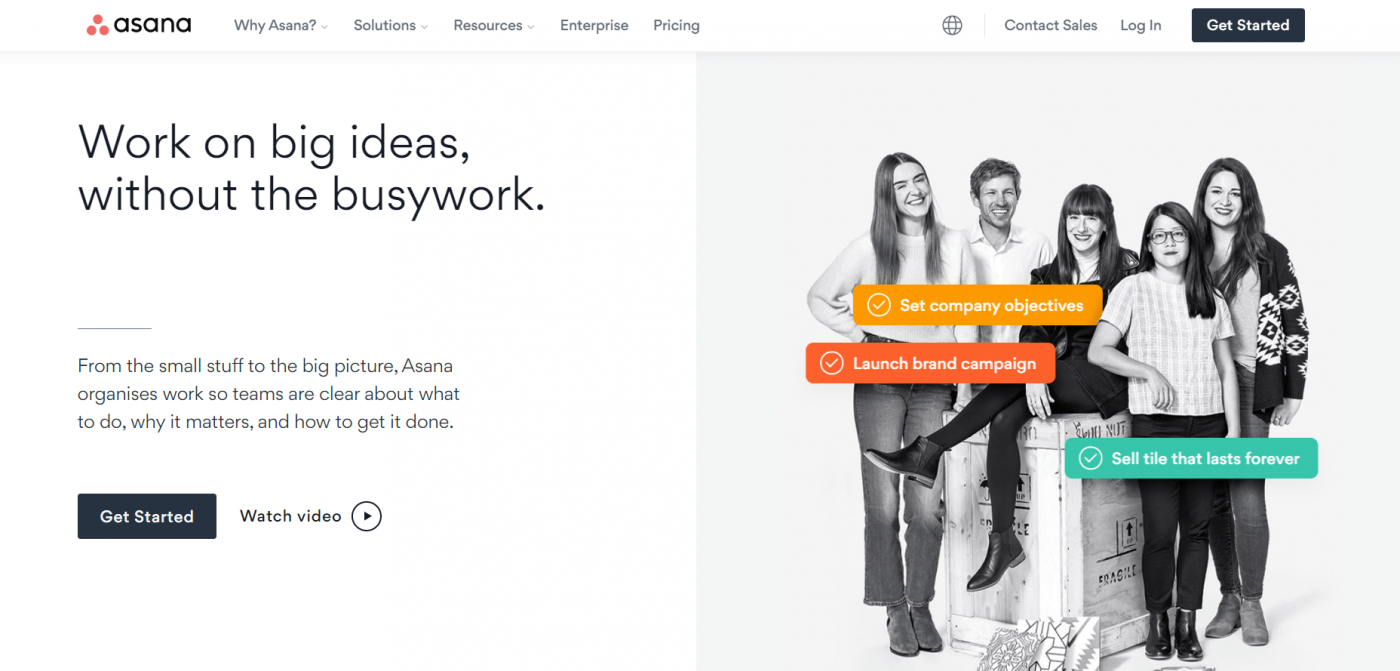 Asana home page