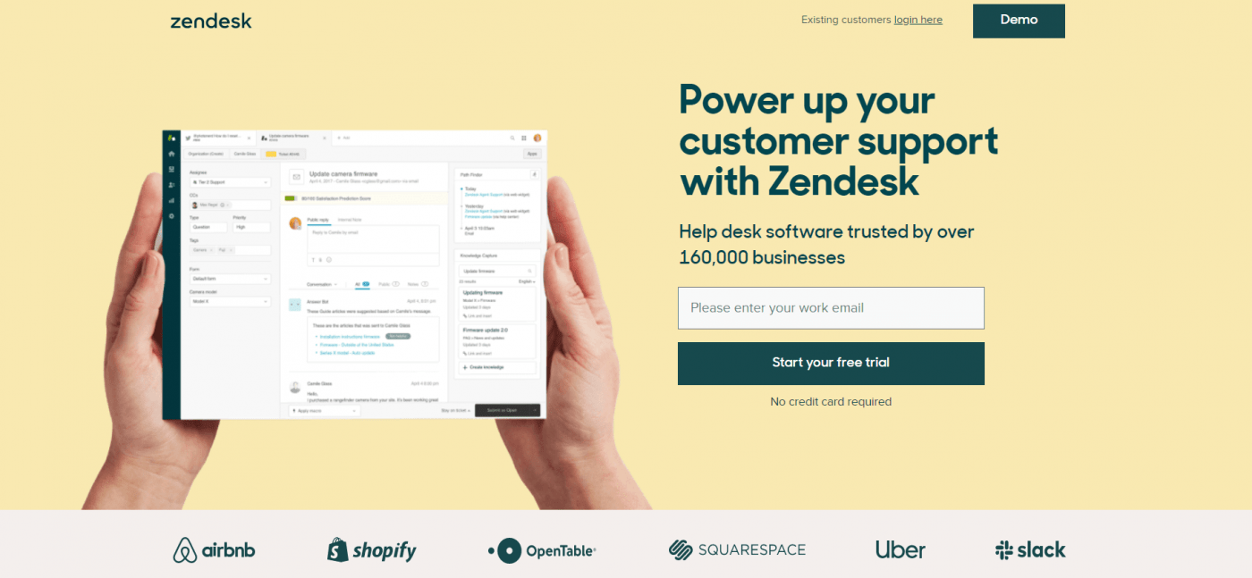 ZenDesk home page