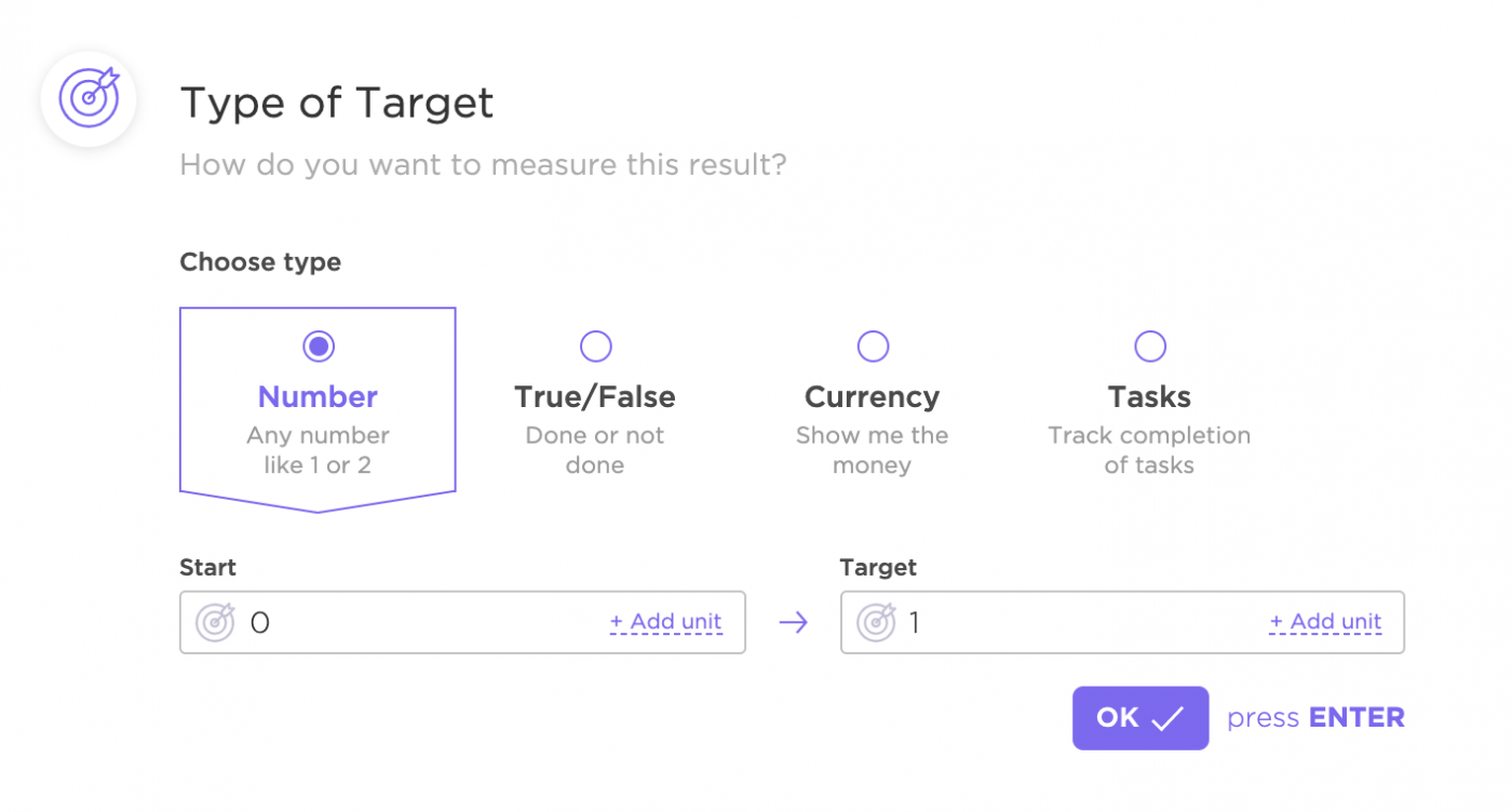 Type of targets in Goals in ClickUp