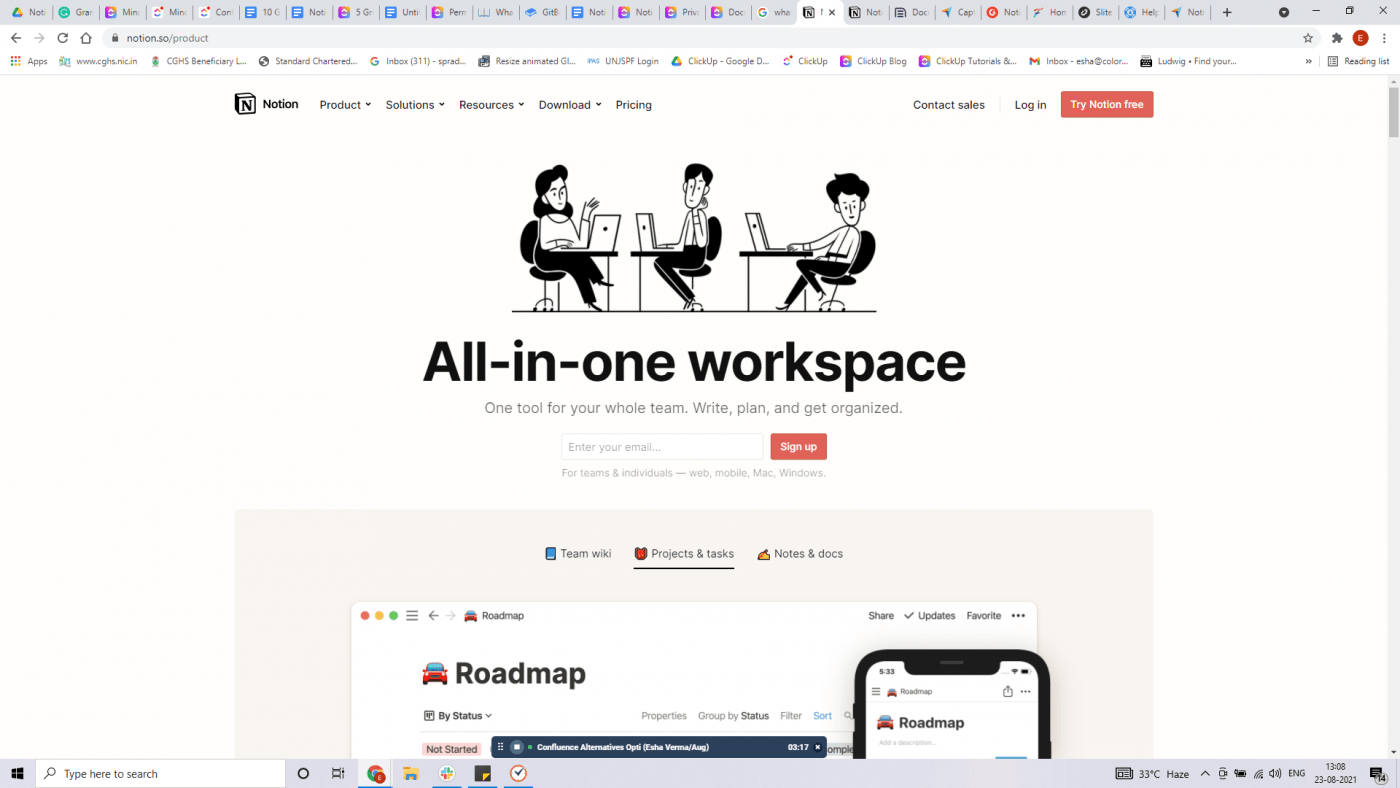 Notion home page