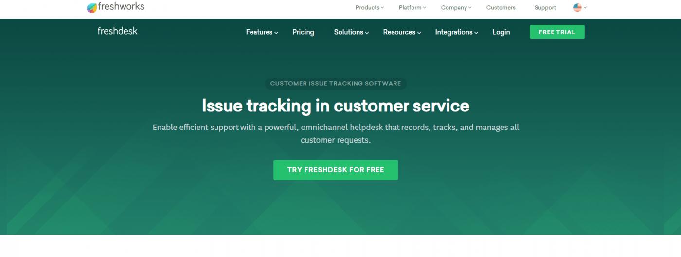FreshDesk home page