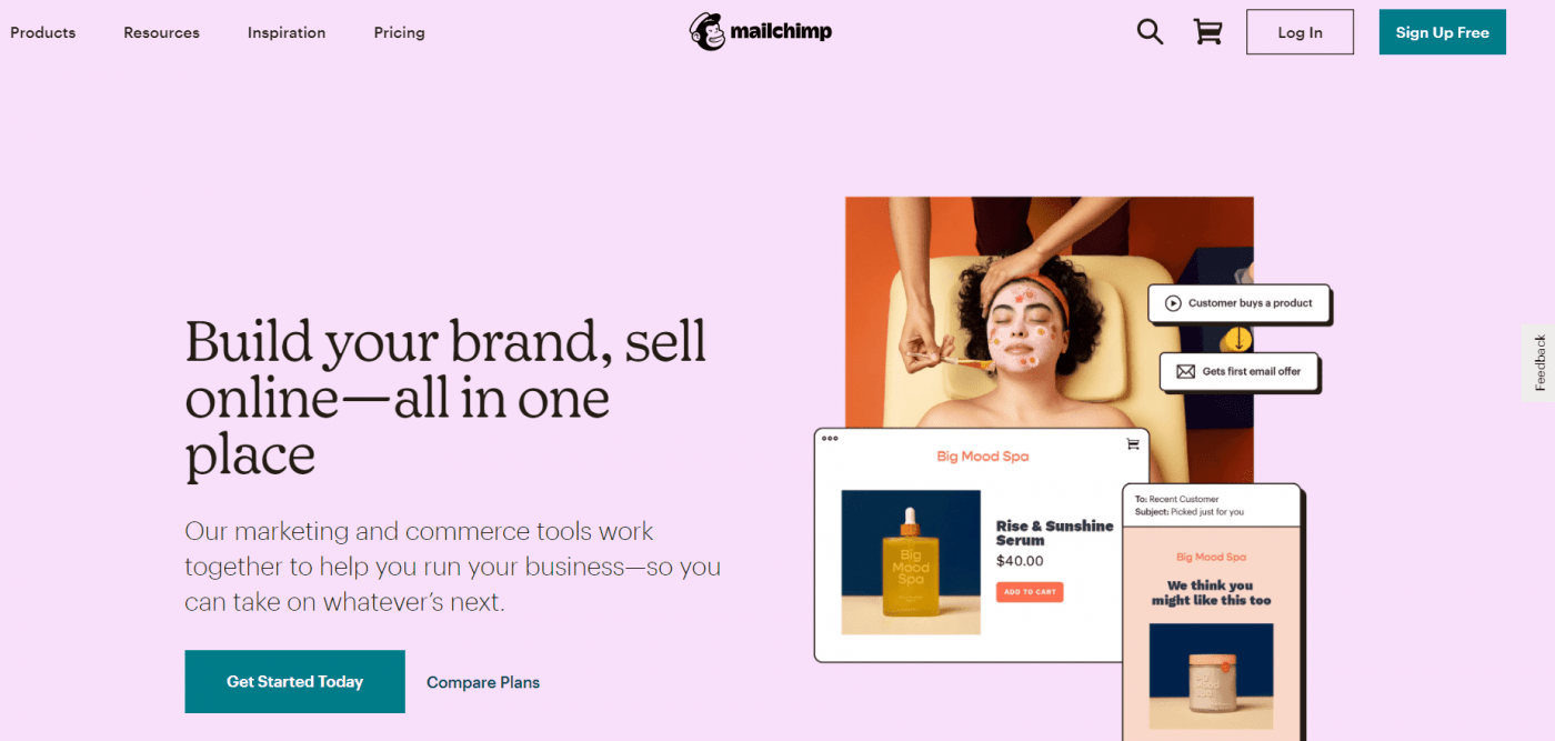 MailChimp home page