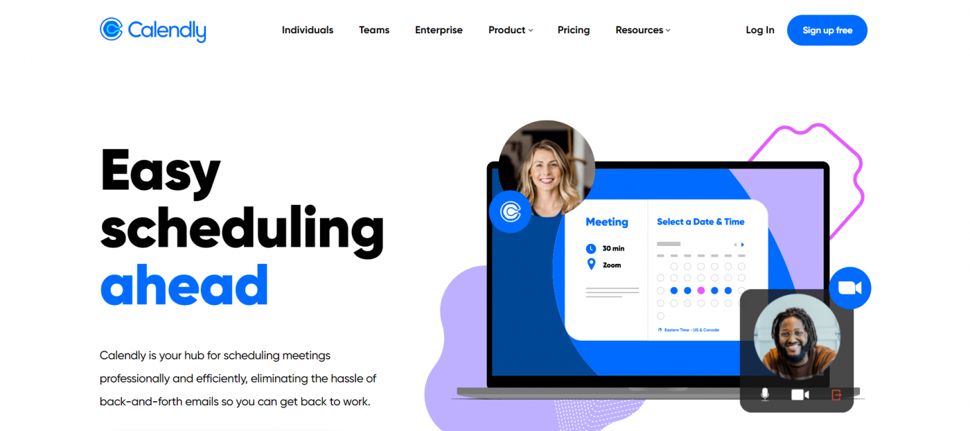 Calendly home page
