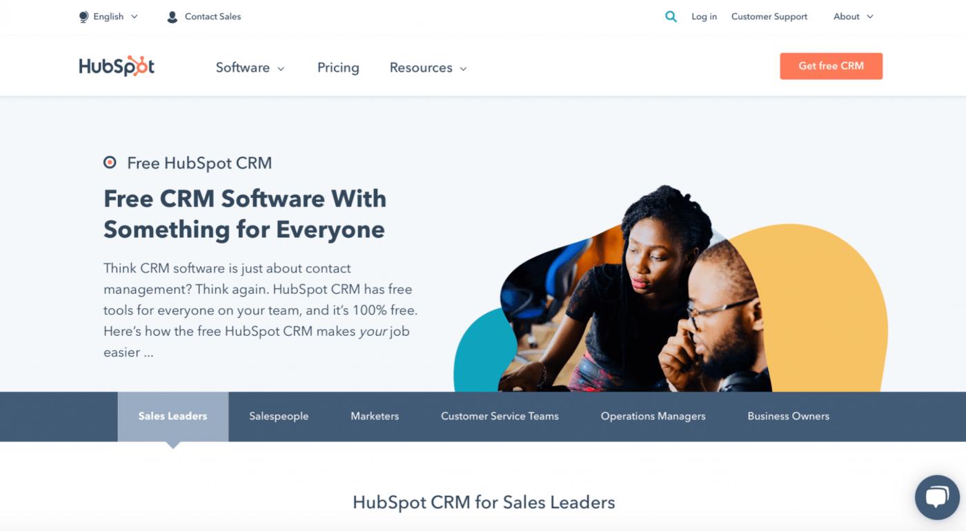 HubSpot CRM homepage