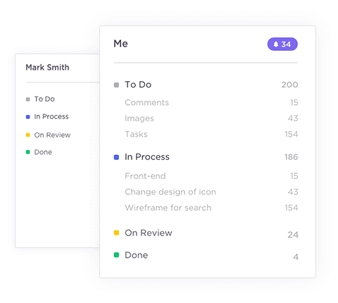 Each Space has customizable task statuses in ClickUp