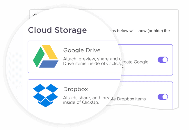Integrate Google Drive to attach or create Drive files in ClickUp tasks - and automatically unfurl links.