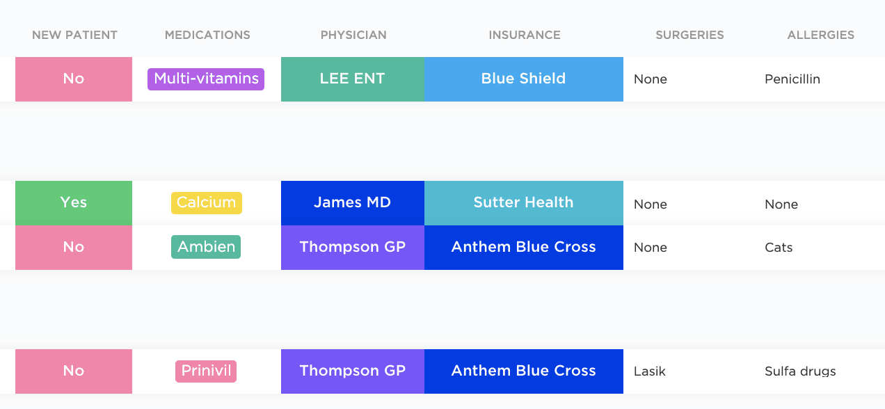 Track patient information quickly.