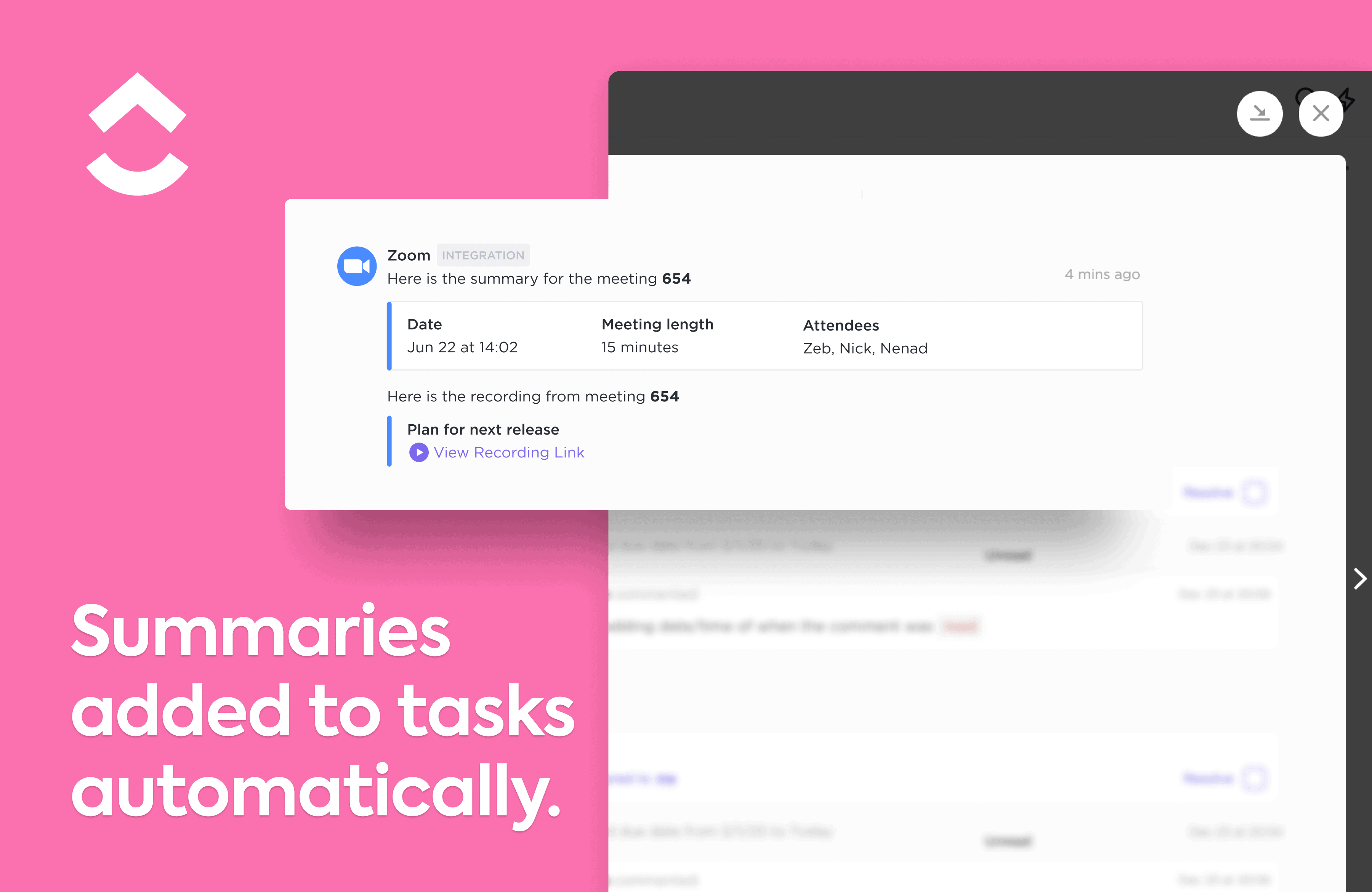 View recording links in your tasks.